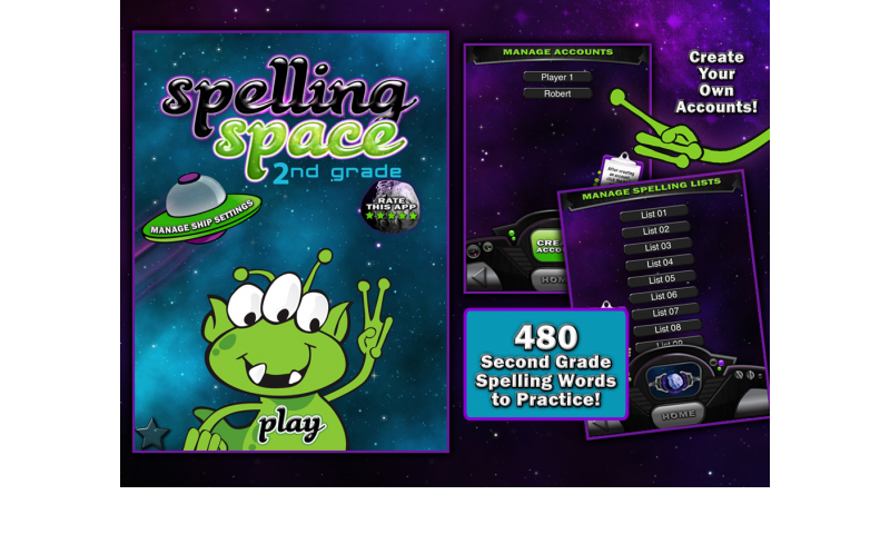Learning Gems - Spelling Space - 2nd Grade