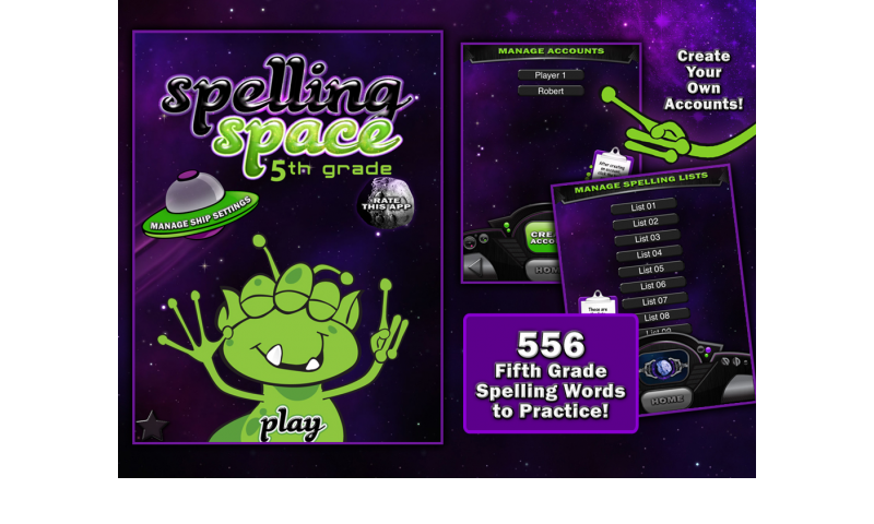 Learning Gems - Spelling Space - 5th Grade