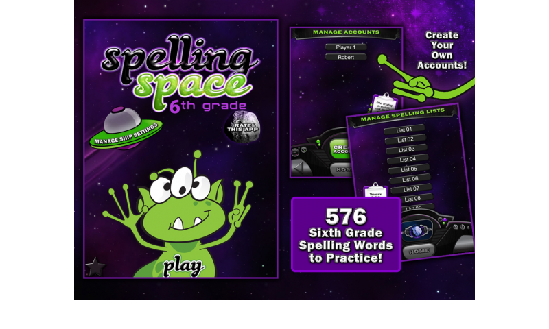 Learning Gems - Spelling Space - 6th Grade