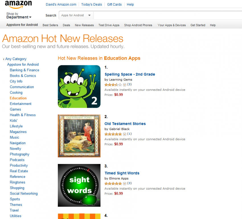 Spelling Space 2nd Grade ranked Number 1 in Amazon's Hot New Releases Educational Apps!